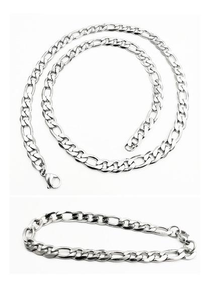 Kit Exclusivo Corrente Masculina Aço 3x1+pulseira 3x1 Top