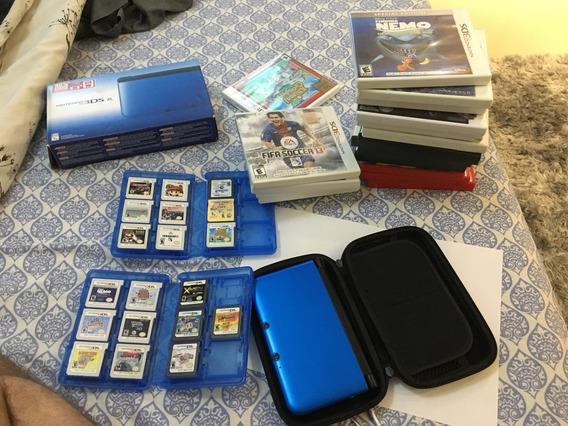Nintendo 3ds Xl + 19 Jogos + Case Proteção + Case Para Jogos