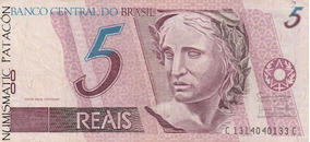 Billete Brasil 5 Reales Viejo Diseño - Serie C - Muy Bueno