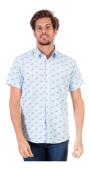 Camisa Hombre Full Print Surf Manga Corta Azul Cielo