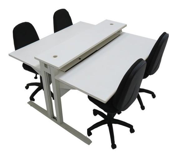 Mesa De Escritório Dupla, Est. Trabalho Para Até 4 Lugares