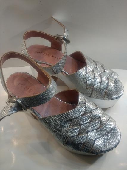 Zapato Mujer Sandalia Heyas Plateado 37 Usado