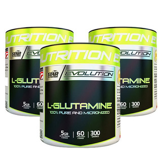 Glutamina Star Nutrition 300 Gr X 3 Unidades Micronizada