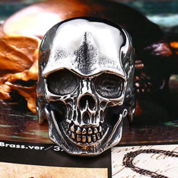 Anel Aço Inox 316l Caveira Punk Moto Diabo Lucifer Metal Hip Hop Cruz Templario Honda Templario Rock Lxbr A190