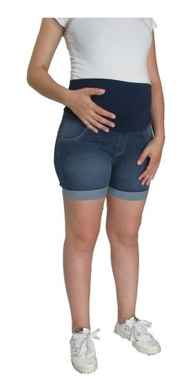 Short Grávida Gestante Jeans Escuro - Oferta - R$89,90