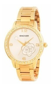 Relogio Backer 3066145 Caixa Pulseira Dourada C/ Pedras