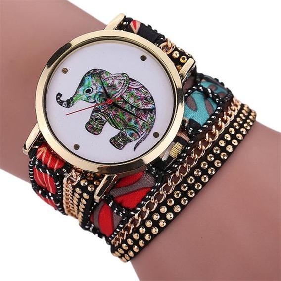 Relógio De Pulso Elefante Vintage Lindo Pronta Entrega