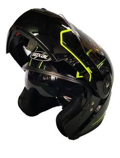 Casco De Moto Abatible+ Gafas Moxal Homologado Dot 2020