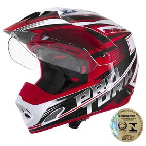 Capacete Esportivo Masculino Moto Vermelho E Branco Pro Tork