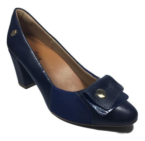 Sapato Feminino Scarpin Usaflex Azul 7cm Macio Joanetes Leve