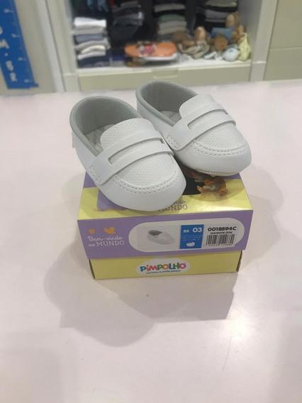 Mocassim Infantil Menino Branco Pimpolho