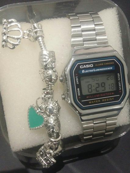 Relógio Vintage Retrô + Pulseira Estilo Pandora