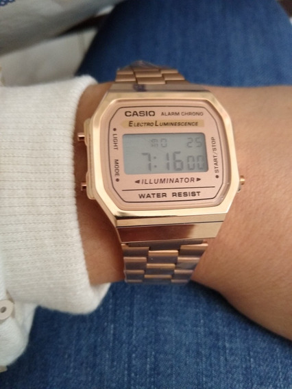 Relógio Casio Vintage Feminino Rose Digital A-168
