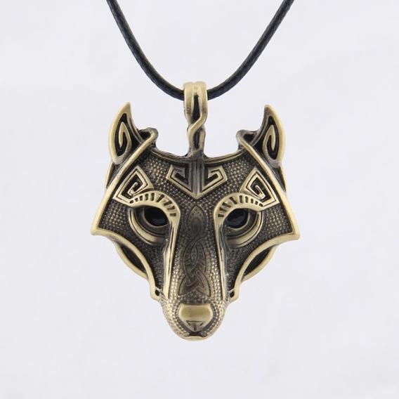 Pingente Viking Lobo Norse Odin Thor Casual Elegante