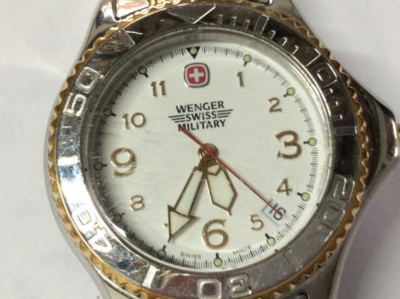 Relógio Suiço Wrenger Militar Aço Ouro Lindão 36 Mm. S/novo