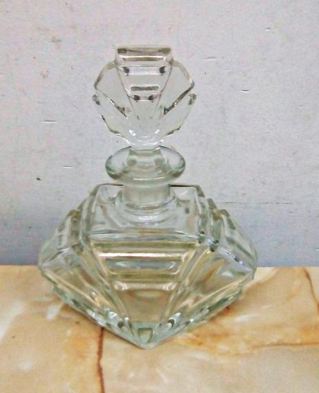 Perfumero Vidrio Antiguo Con Tapa - Año 50