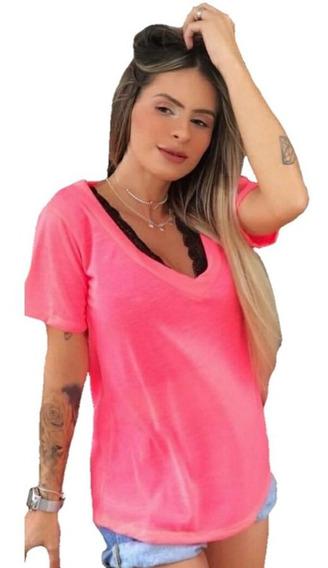Kit 3 Blusa Podrinha Neon Tshirt Blusinha Camiseta Feminina