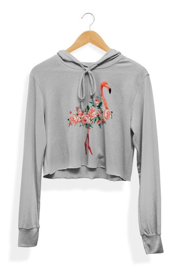 Blusa Moletom Cropped Flamingo Tumblr Summer Florido Flores