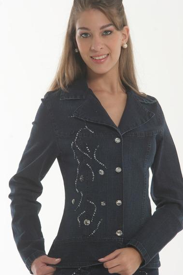 Jaqueta Casaco Blazer Jeans Bordada Elastano La Sève 2310