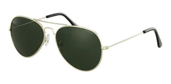 Óculos De Sol Unissex Polaroid Dourado Aviador