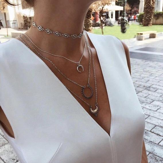 Colar Camadas O Kit Choker Estrelas + Colar Em Camadas 3 Voltas Com Pingente Meia Lua Estilo Bali Grg 450