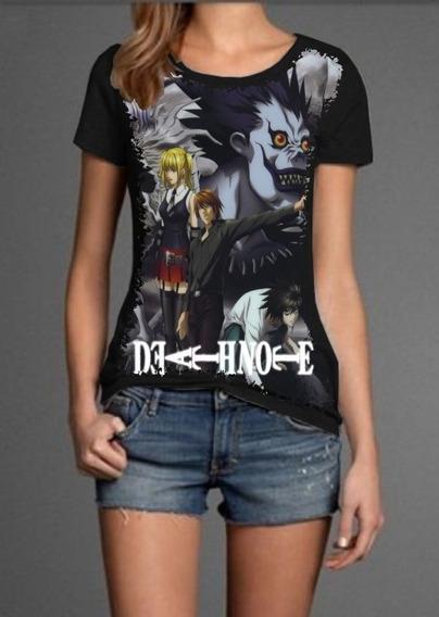 Camiseta Feminina Premium Baby Look Full Print Death Note