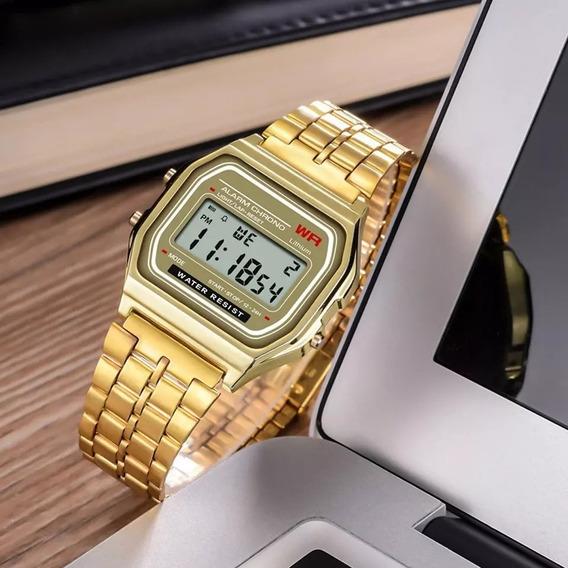 Relógio Feminino Vintage Retro Dourado Digital Barato