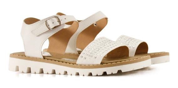 Sandalias Bajas De Símil Cuero En Blanco