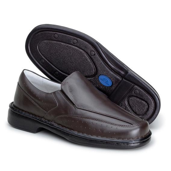 Sapato Masculino Couro Legítimo Conforto Solado Leve Asa1751