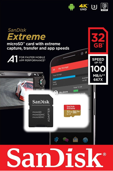 Cartão Memória Micro Sd 32 Gb Extreme Sandisk Classe 10