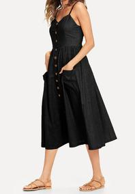 Vestido Midi Com Botões E Bolsos Frontais Blusa Feminina