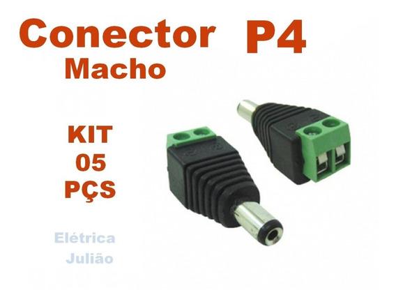 Kit C/ 5 Conector P4 Macho - Cftv