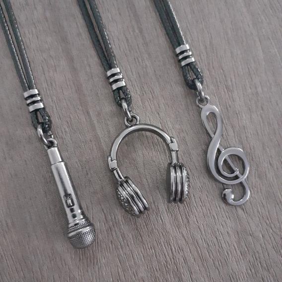 Kit 3 Colares Musical Clave De Sol Fone Microfone Unissex