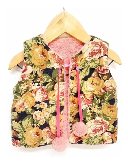 Chaleco De Nena Reversible Corderito - Estampado Rosa Camel