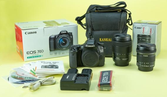 Câmera Canon 70d + Lente 18-135mm Is Usm + 10-18mm Is Stm