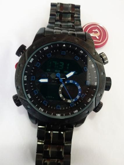 Relógio Masculino Grafite Com Azul
