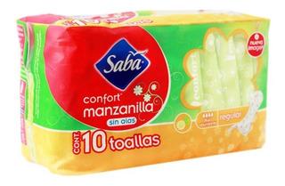 Toalla Femenina Saba Confort Regular Sin Alas 10 Und.