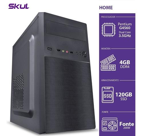 Pc Skul Home H200 Pentium G4560 3.5ghz 4gb Ddr4 Ssd 120gb