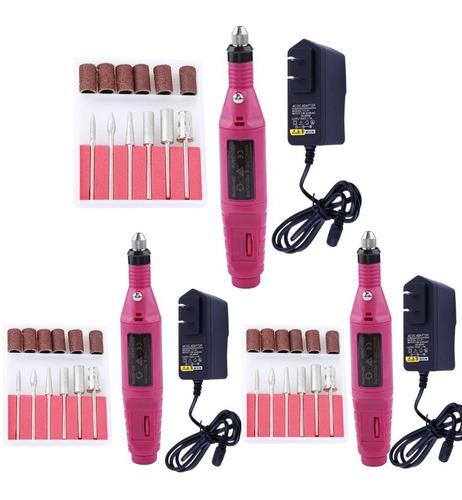 Kit 3 Lixa Manicure Profissional Unha Gel Acrygel Rosa