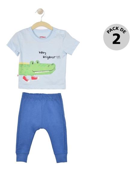 Set 2 Pzas, Playera Y Pantalón Baby Creysi Azul Uh1130