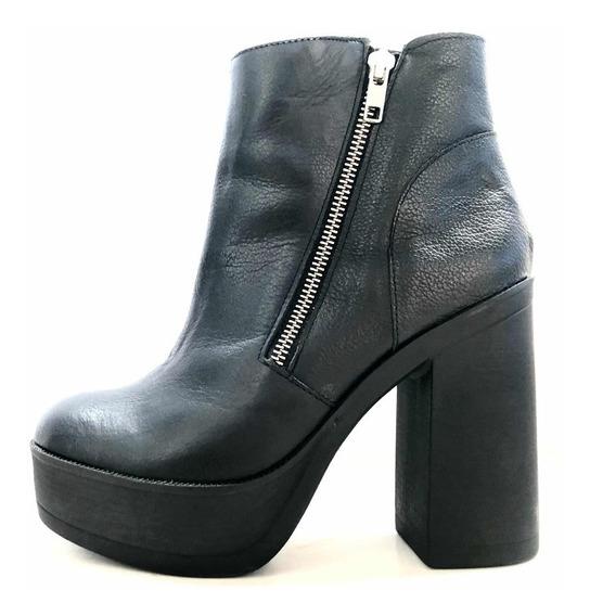 Botas Zapatos Botinetas Cuero Negro Cierre Mary&joe