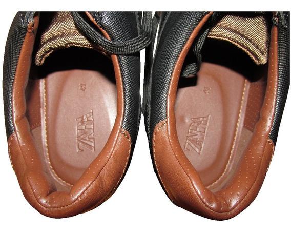 Zapatillas Nuevas Zara Man Londres 41 Negras Marrón Blanco