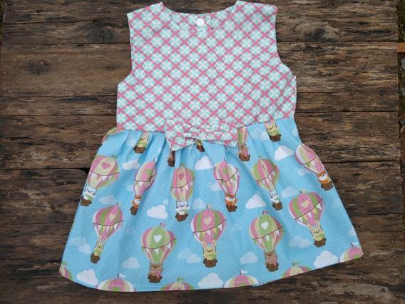 Vestido De Bebe Balões Ursinhos Curta 100% Algodão Médio