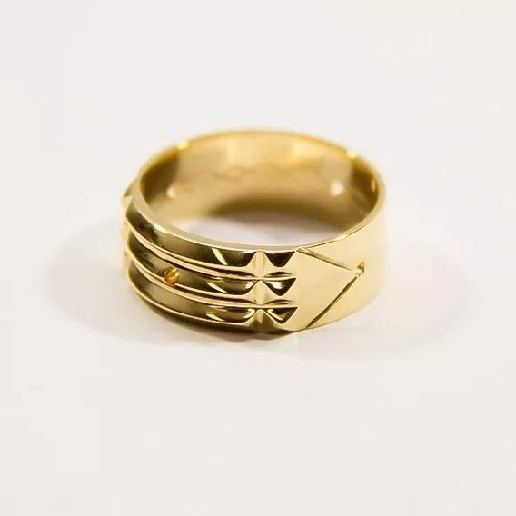 Anel Pirâmide Em Ouro 18k