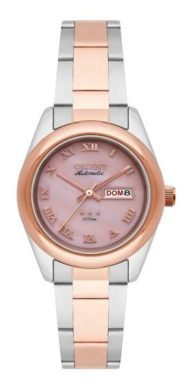 Relógio Feminino Prata E Rose Orient Automático Madrepérola