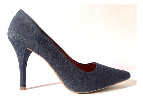 Sapato Scarpin Jeans Donna Xica Salto Alto Fino