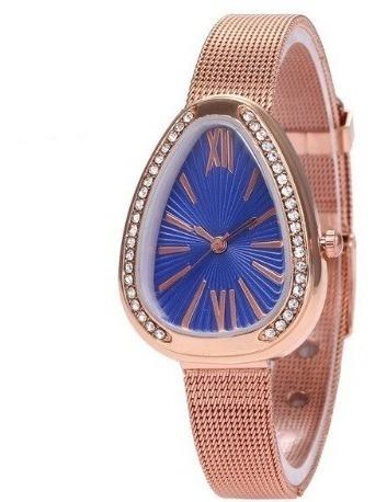 Relógio Devpulso Feminino Azul Cobra Barato Promoção Strass