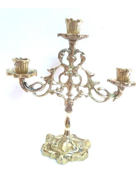 Dois - Castiçal Para 3 Velas Em Bronze Maciço