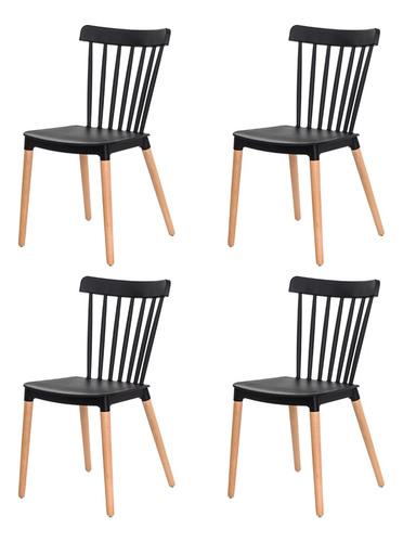 Kit 4 Cadeiras Ellen Polipropileno Base Madeira Várias Cores