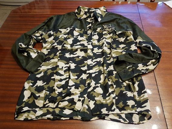 Camisa Camuflada Combinada Con Gamuza T M/l